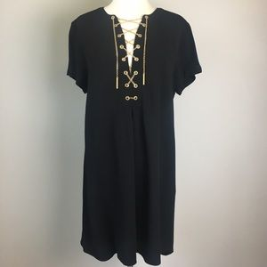Michael Kors | Lace Up Gold Chain Dress in Black